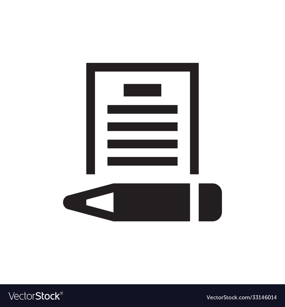 Document with pen - black icon on white background