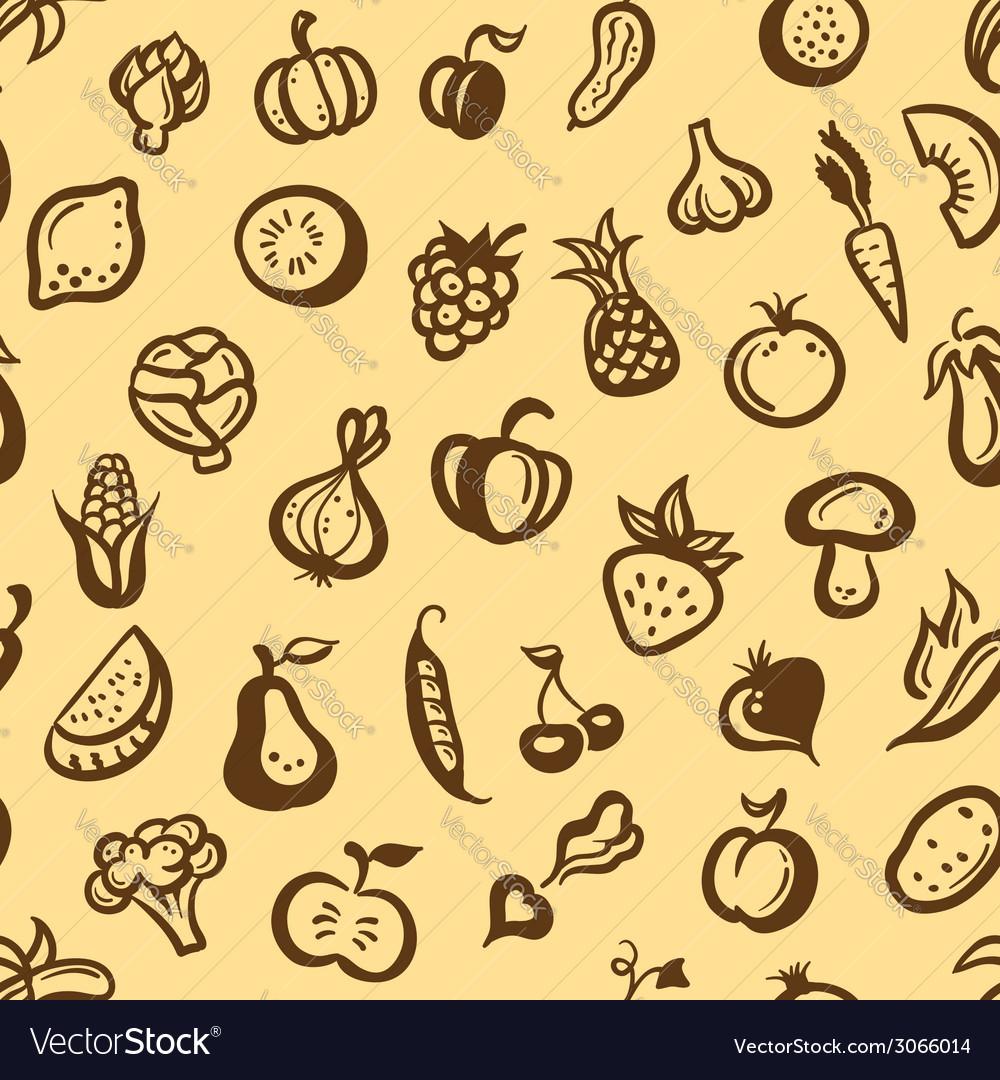 Flat design fruits and vegetables pattern