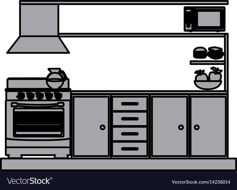 Grayscale silhouette of lower kitchen cabinets vector image