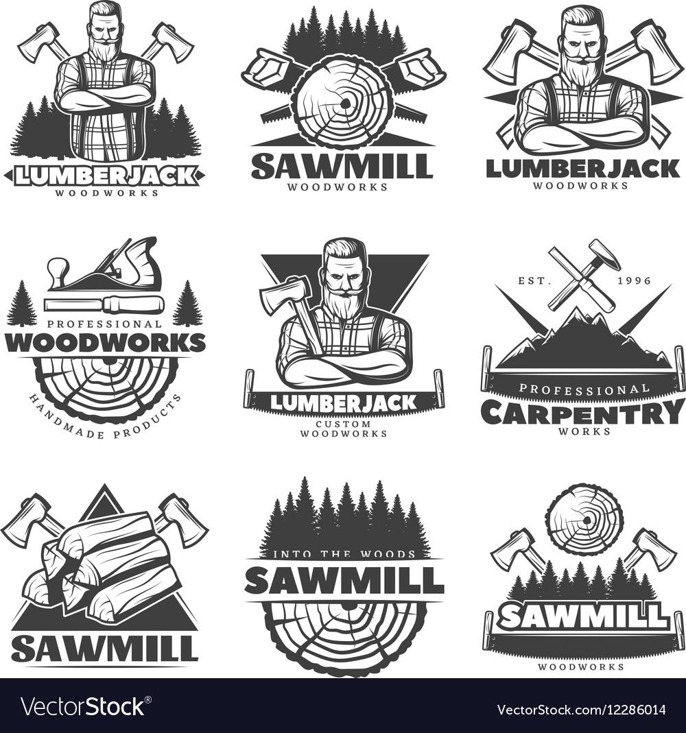 Lumberjack Monochrome Labels Set vector image