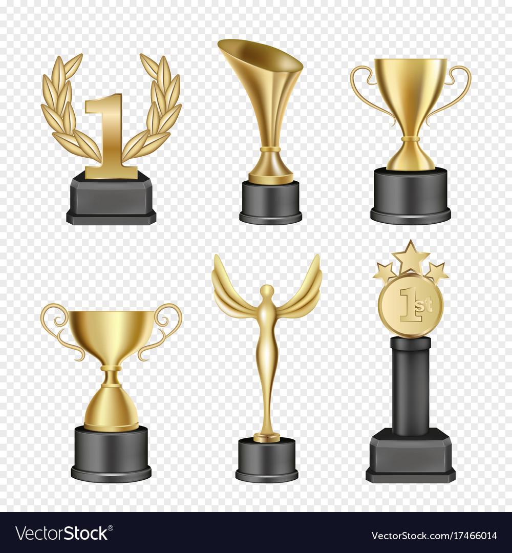 Metal award cup icon set