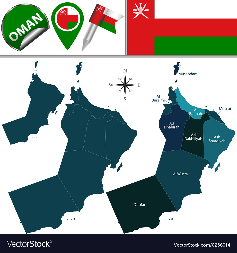 Oman map with named divisions