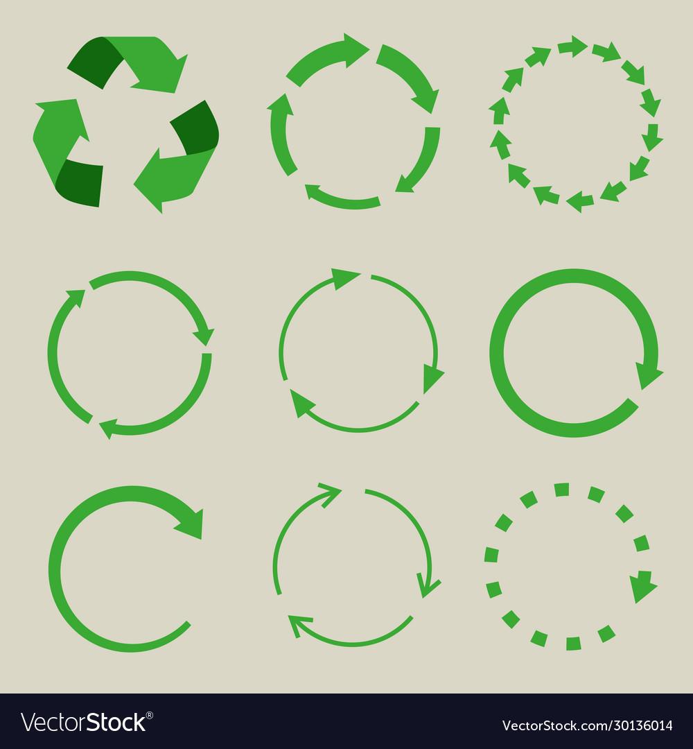 Recycled symbol arrows icon set