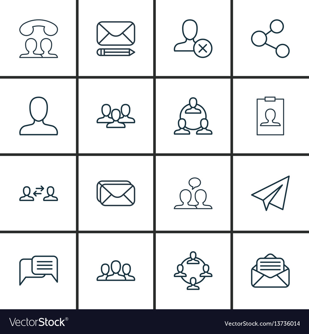 Set of 16 communication icons includes speaking vector image