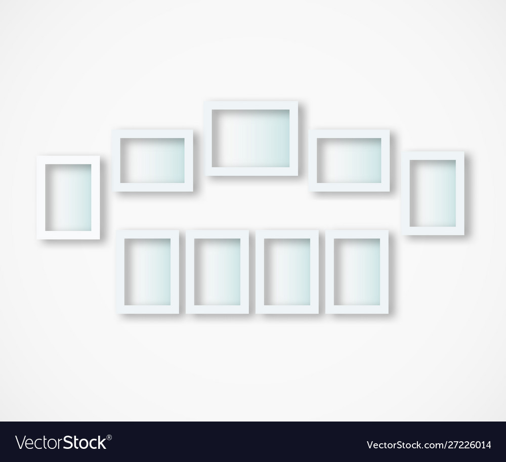 Set white photo frames on gray background