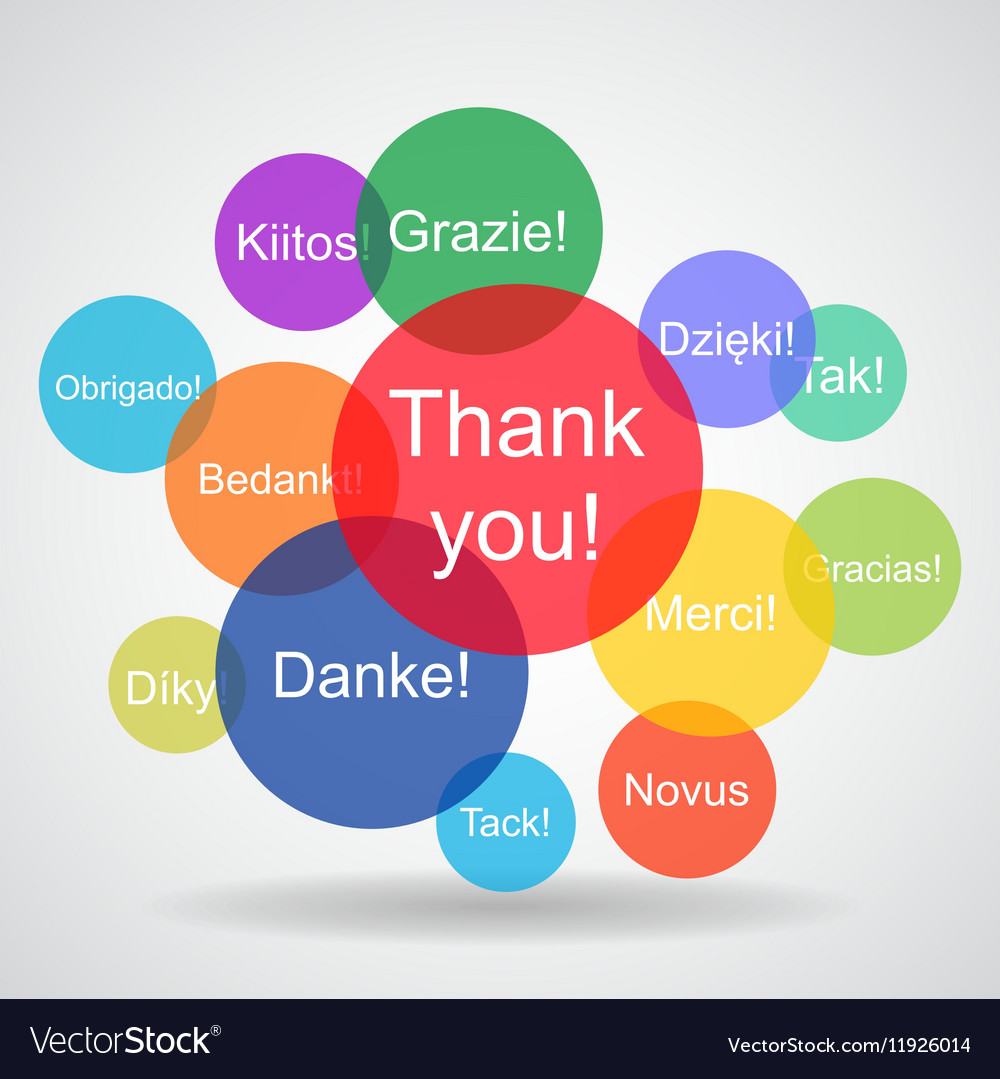 Thank You Messages In Different Languages Vector Image