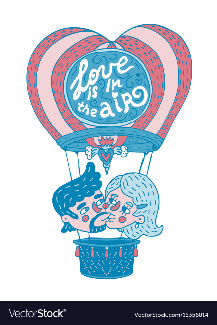 Young couple kissing on a hot baloon vector image