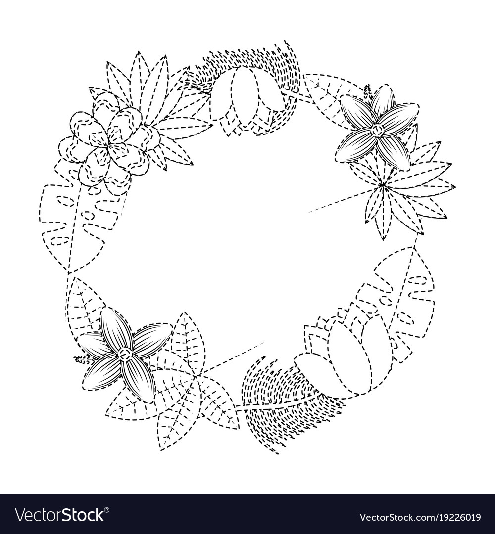 Beautiful wreath flowers leaves tropical exotic vector image