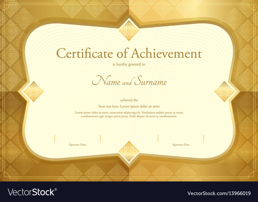 Certificate of appreciation template thai art vector image
