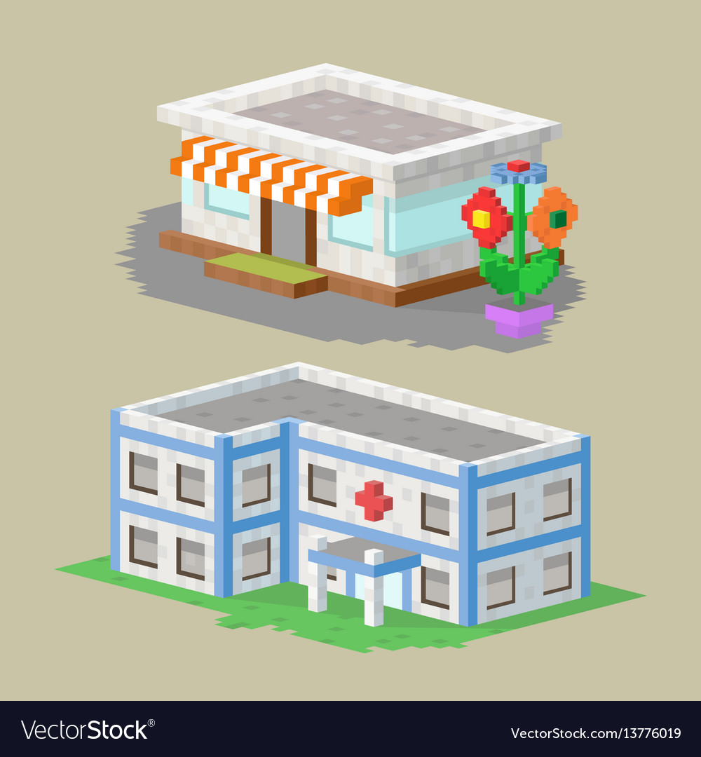 Cute colorful flat style house village pixel art