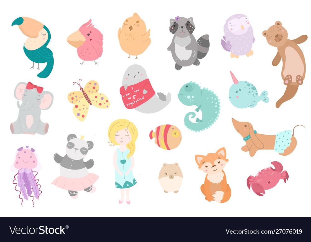 Cute funny kawaii animals flat style