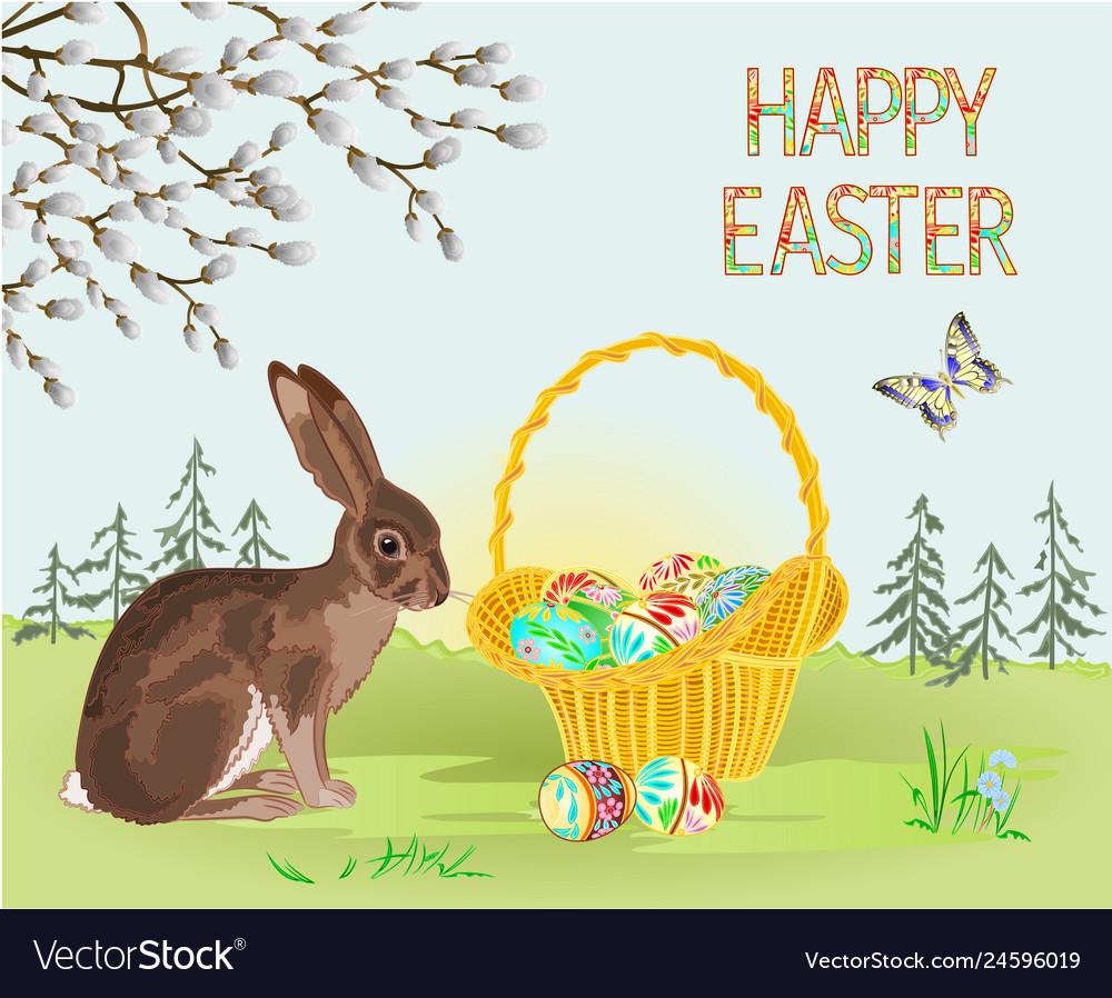 Happy easter spring landscape forest hare