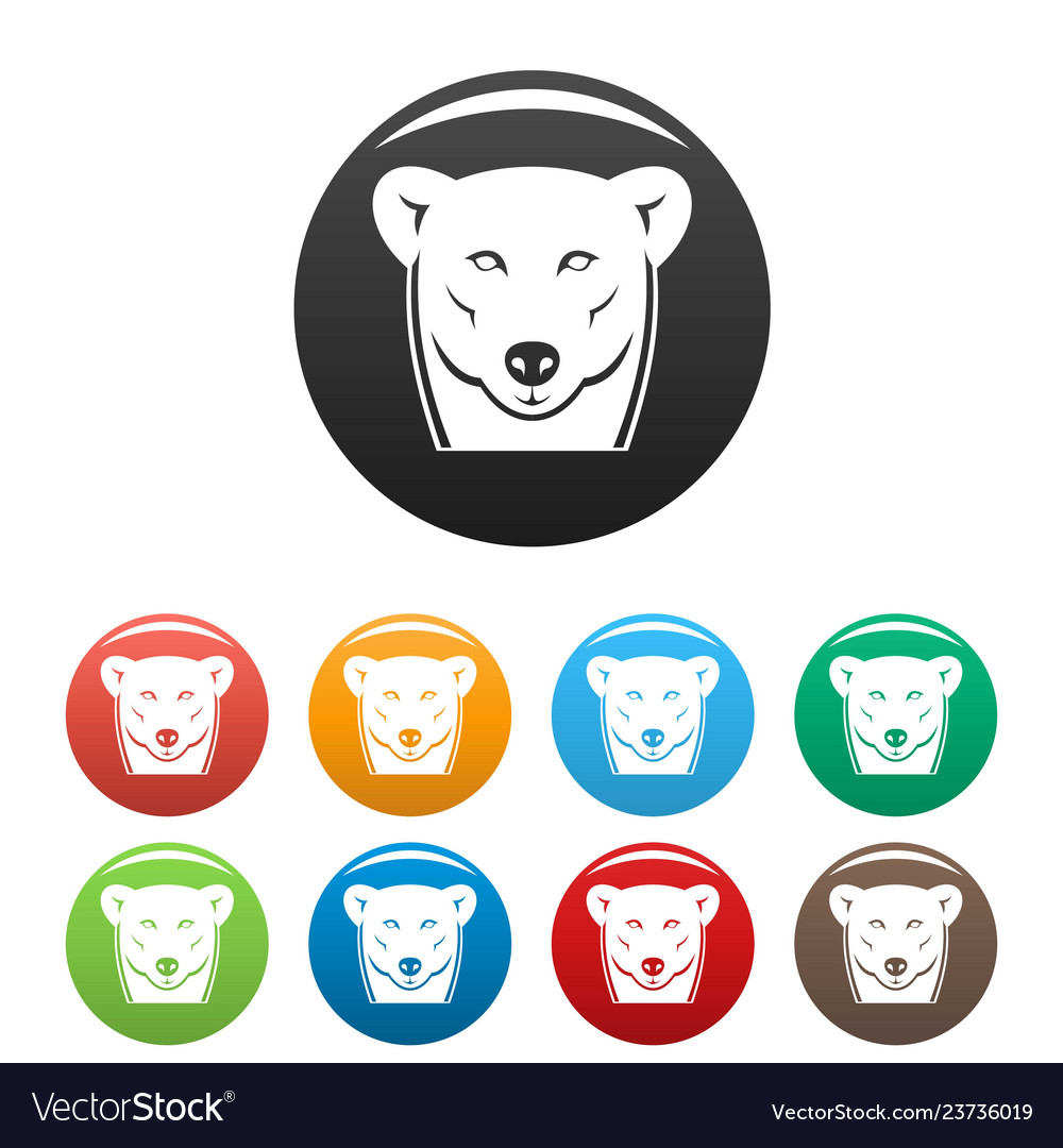 Head female polar bear icons set color