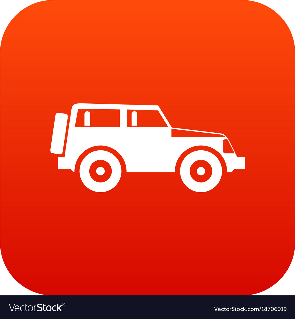 Jeep Icon Digital Red Royalty Free Vector Image