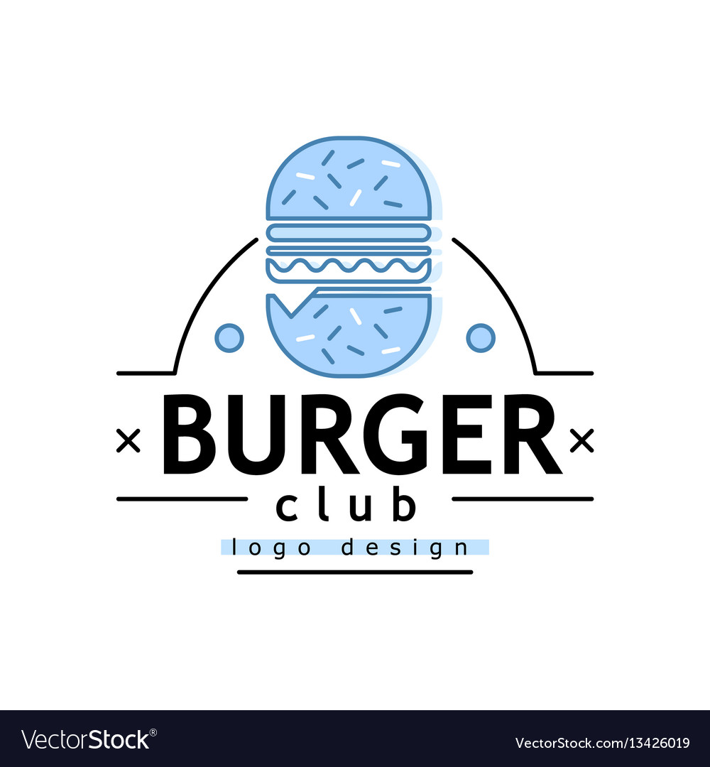 Linear flat fast food badge banner or logo emblem