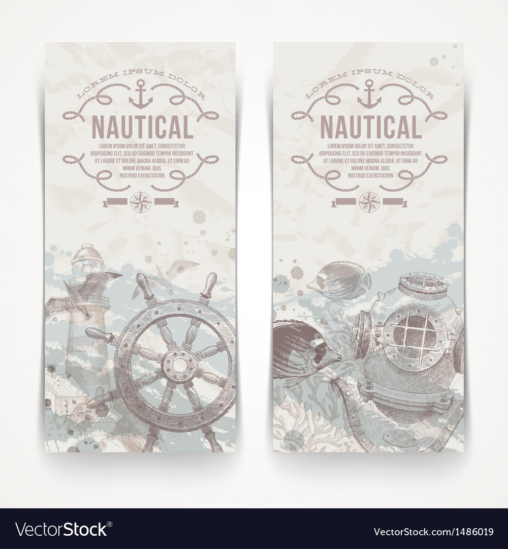 Travel and nautical Vintage hand drawn banners