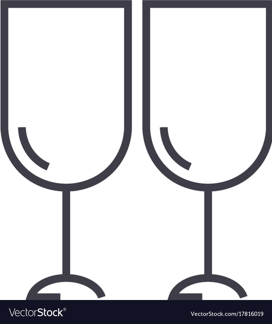 Wine glasses winery line icon sign