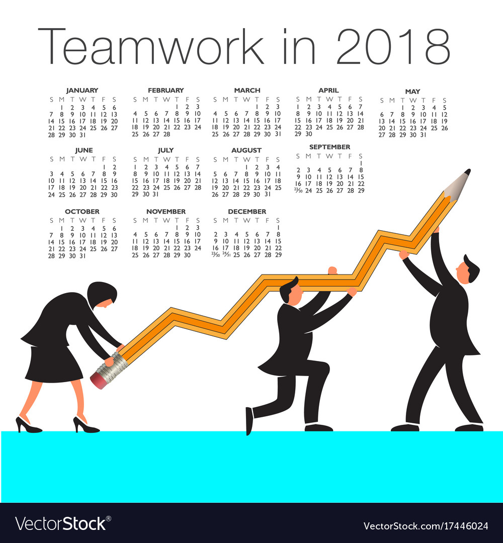 2018 calendar with a teamwork graphic