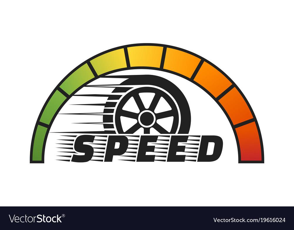 Car wheel with speedometer vector image