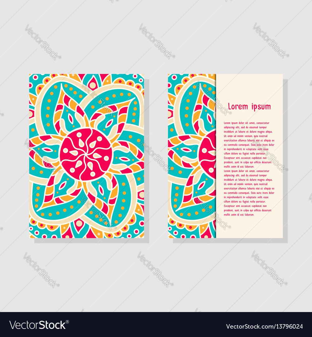 Card templates with mandala vector image