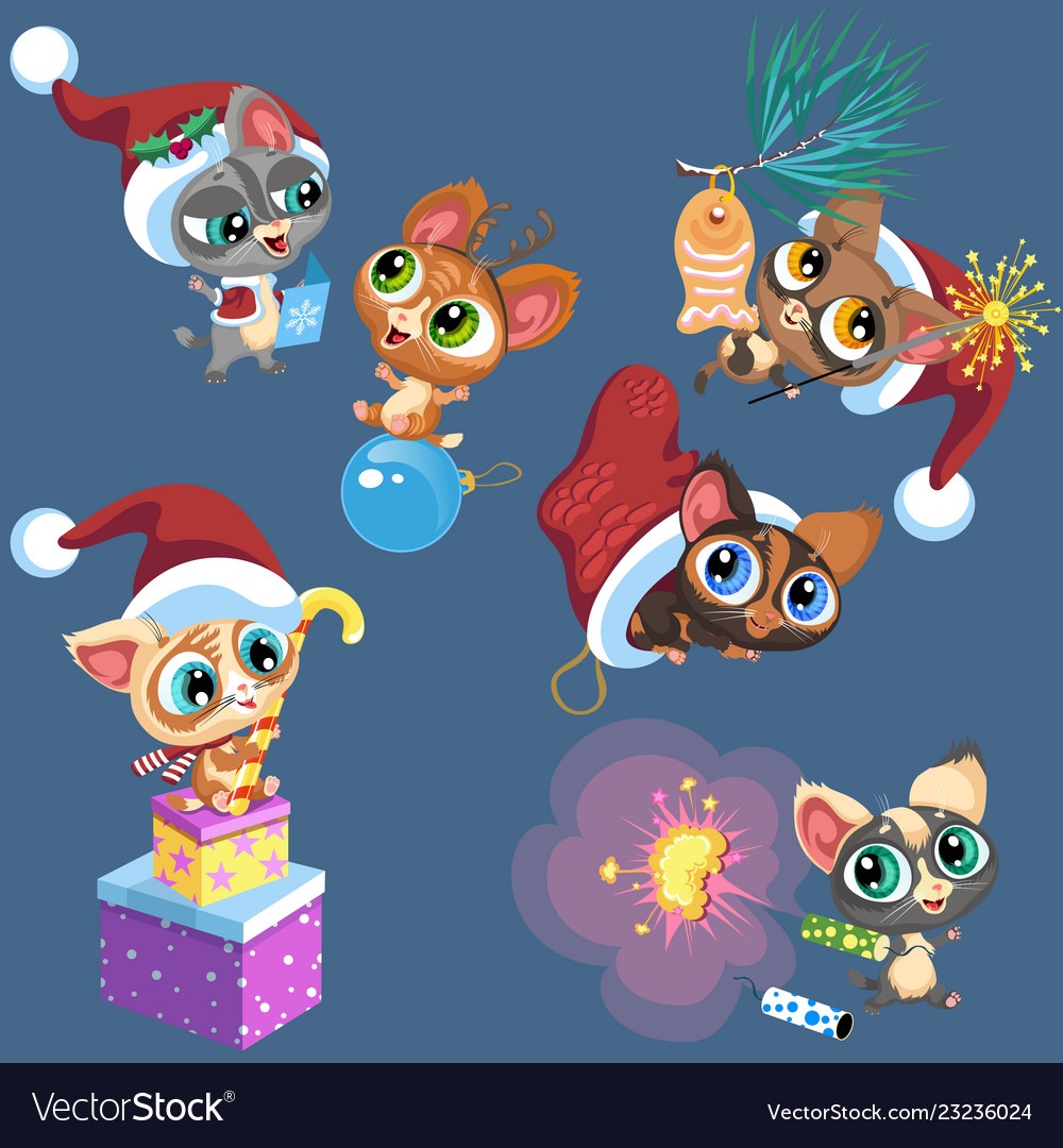 Cartoon set of little kittens playing with