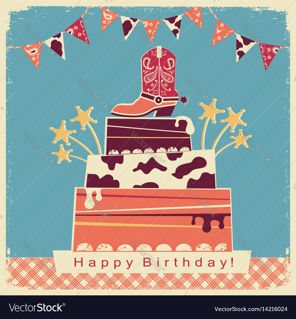 Cowboy party card with big cake and cowboy shoe
