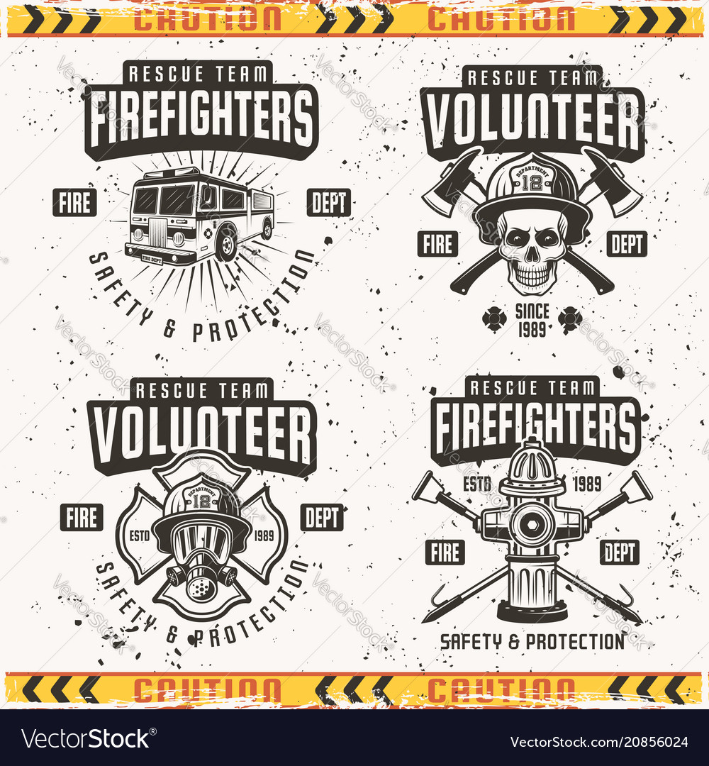 Firefighters set of four emblems or labels
