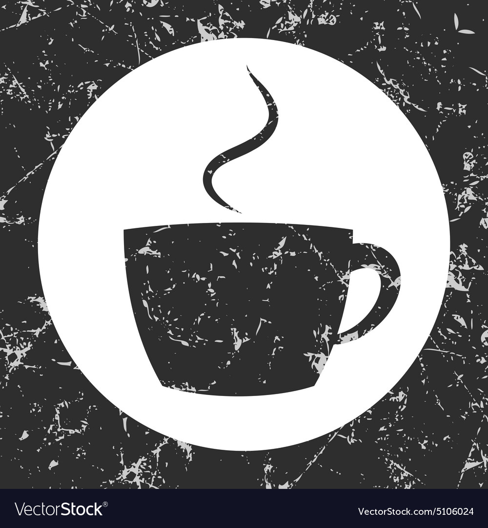 Grunge gray circle icon - cup vector image