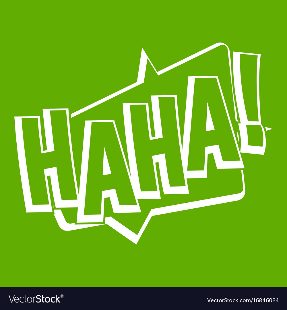 Haha comic text sound effect icon green