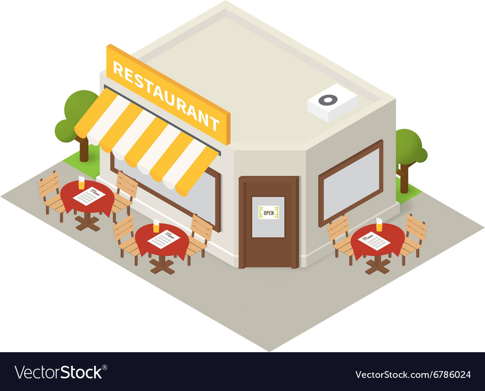 Isometric restaurant cafe building icon
