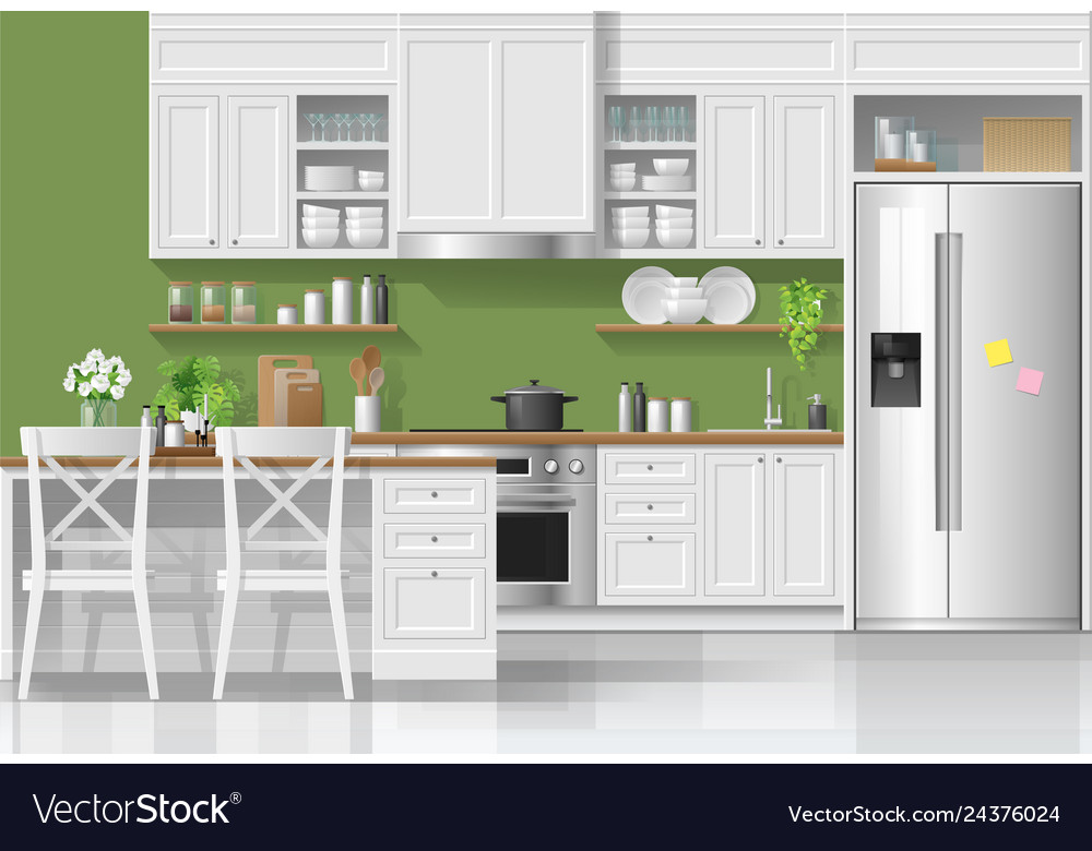 Kitchen In Modern Rustic Style Royalty Free Vector Image