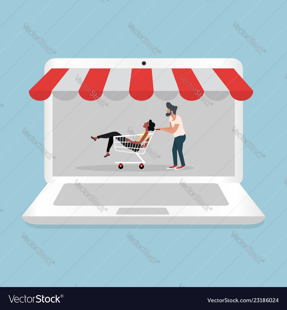 Man and woman sitting in shopping cart with