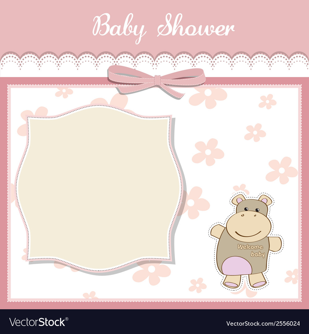 new baby girl announcement card with hippo vector image