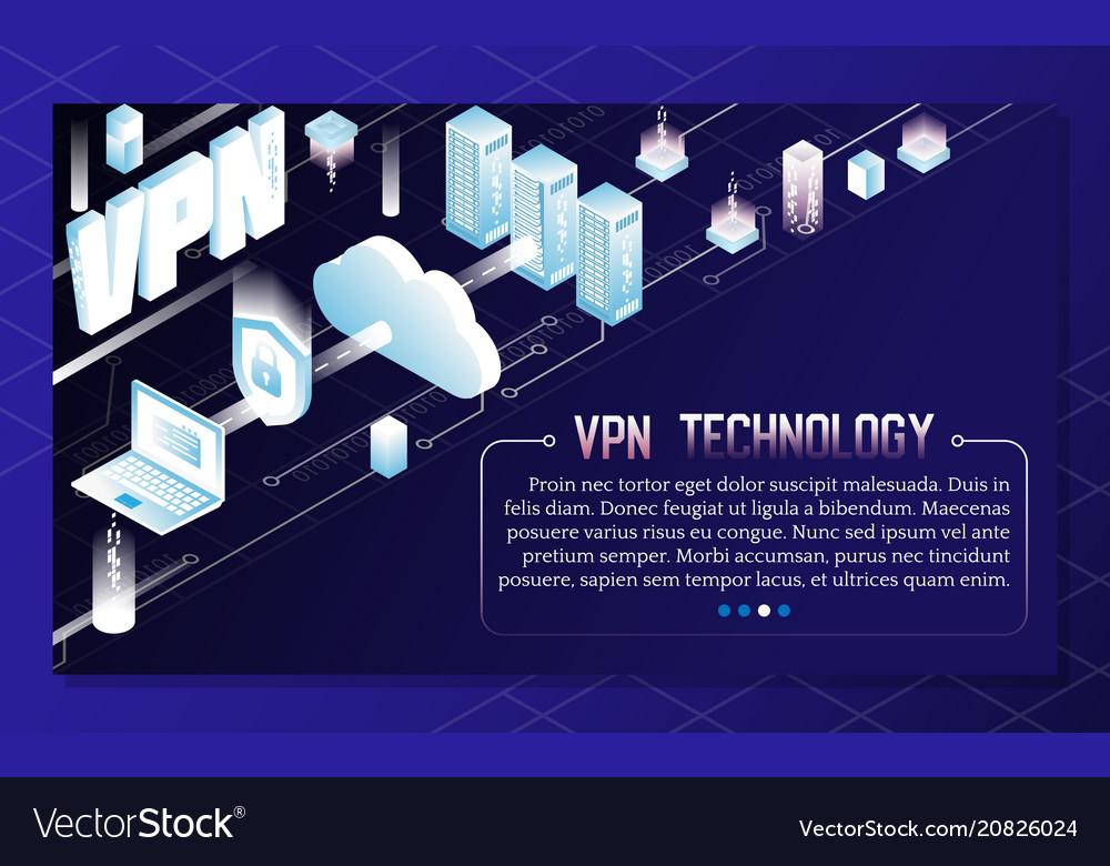 Vpn technology isometric background