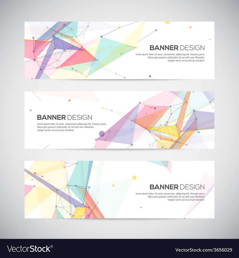Banners set with polygonal abstract shapes circles