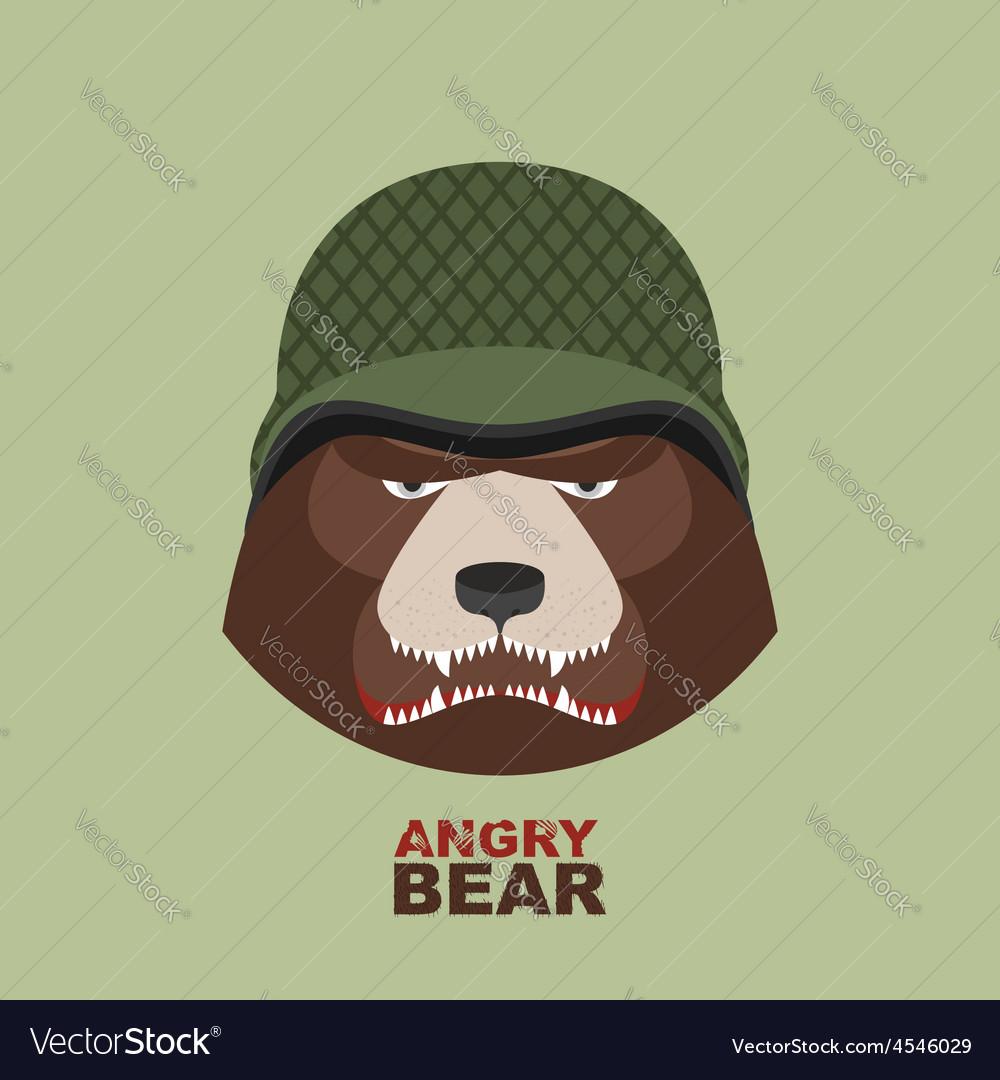 Bear soldierHead of angry bear in military helmet