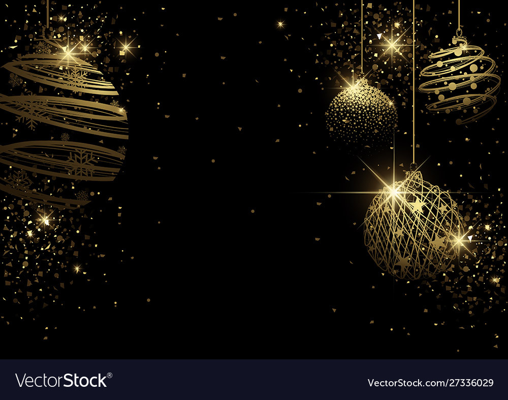 Black christmas background with golden bauble