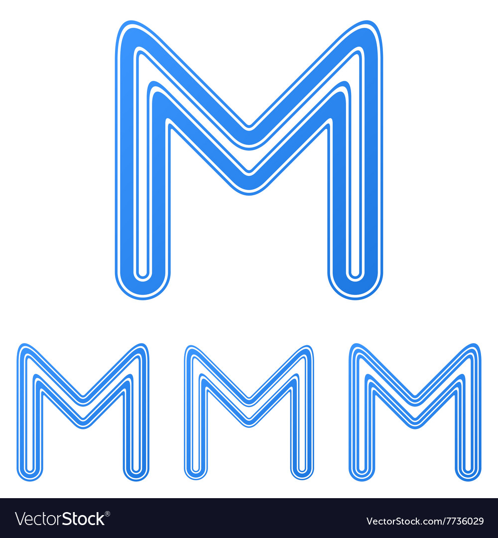 Blue letter m logo design set vector image