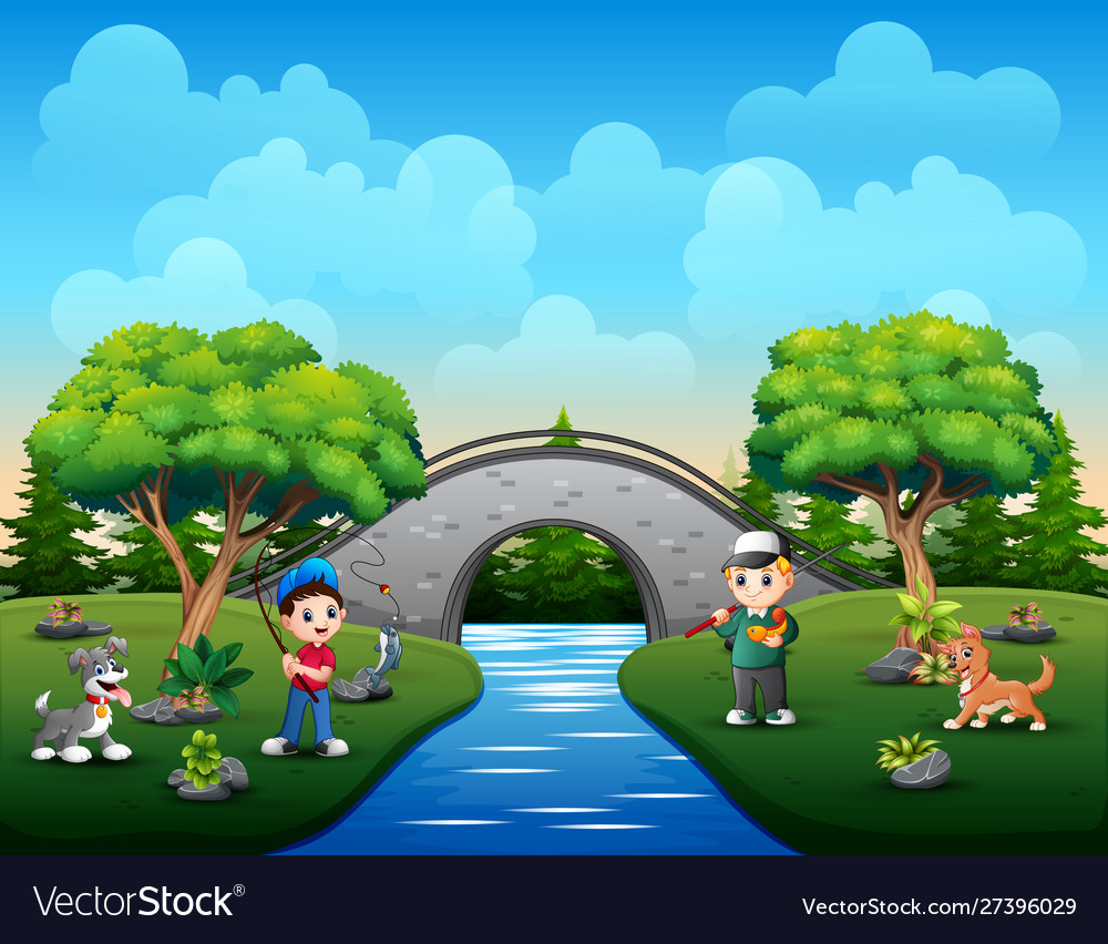 boys cartoon with his pet fishing at river vector image boys cartoon with his pet fishing at river vector image