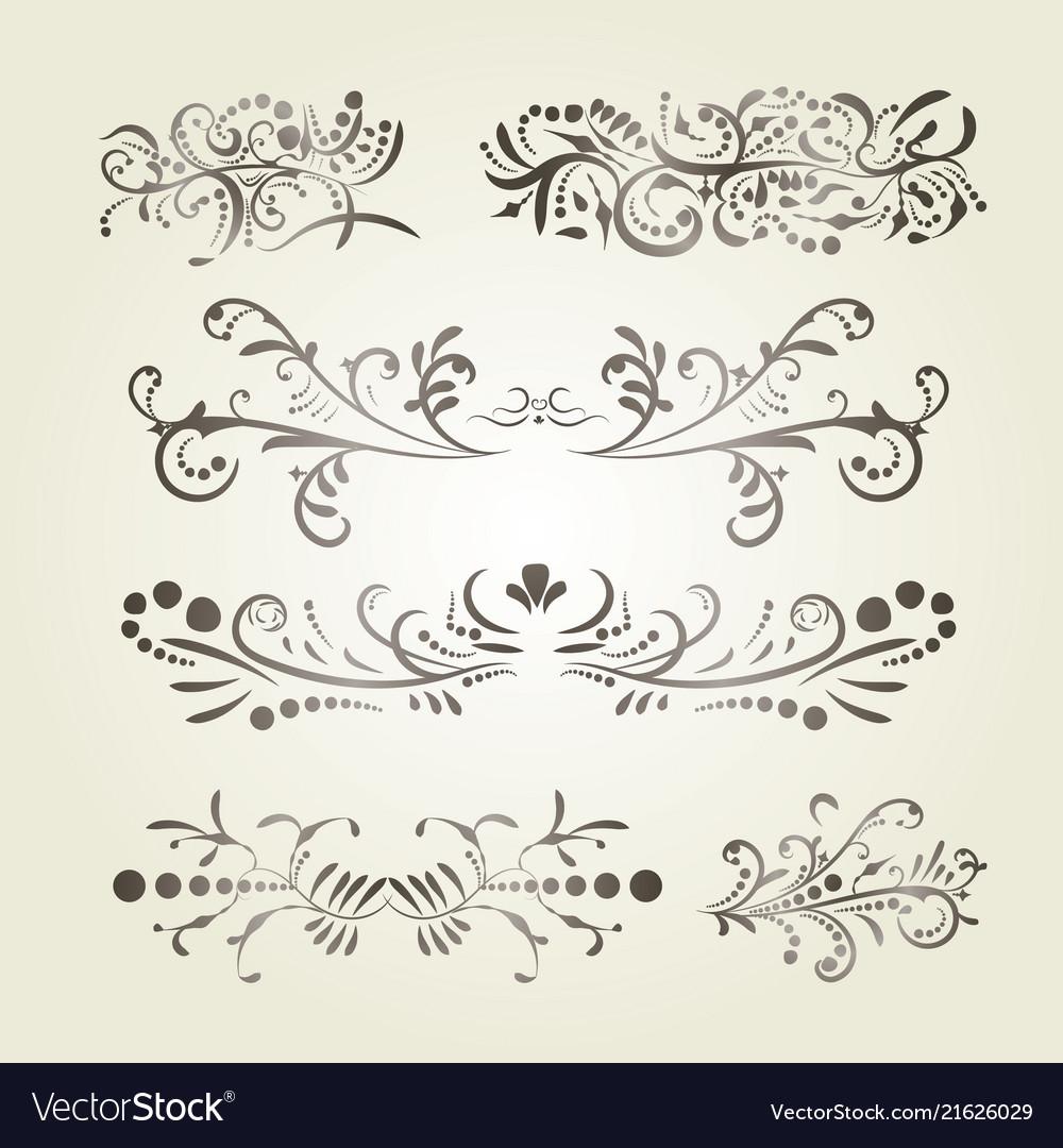 Brown gradient calligraphic swirl elements