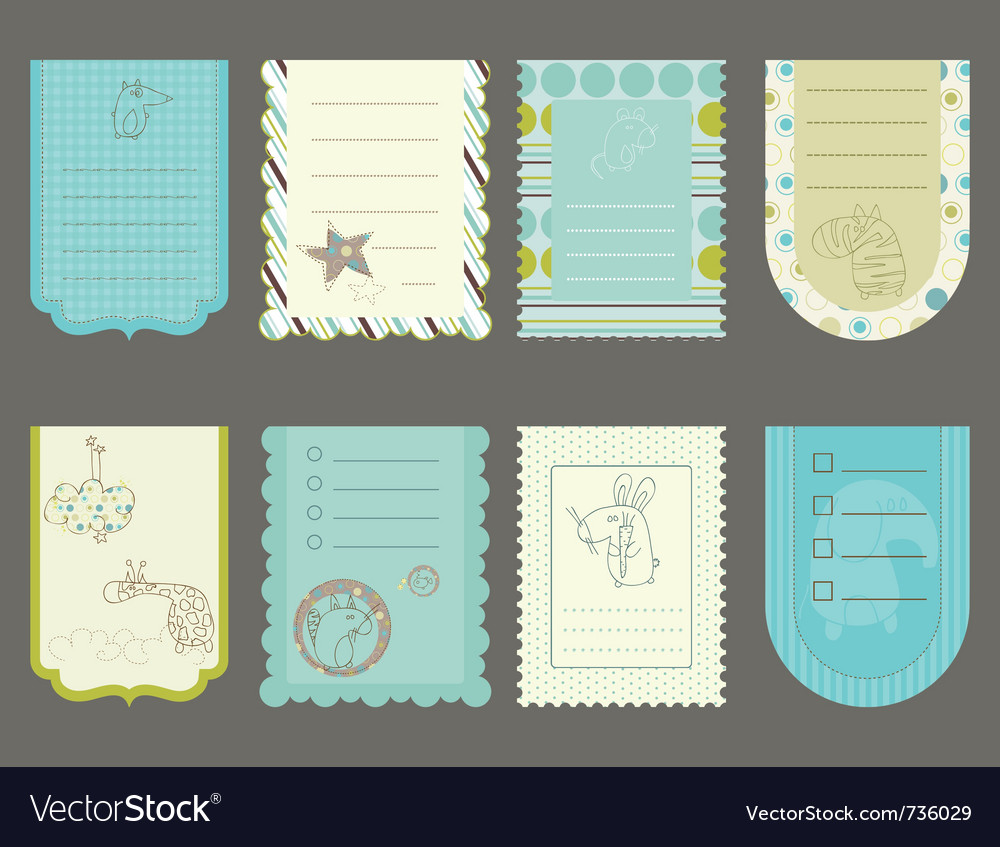 Design elements for baby scrapbook - cute tags wit
