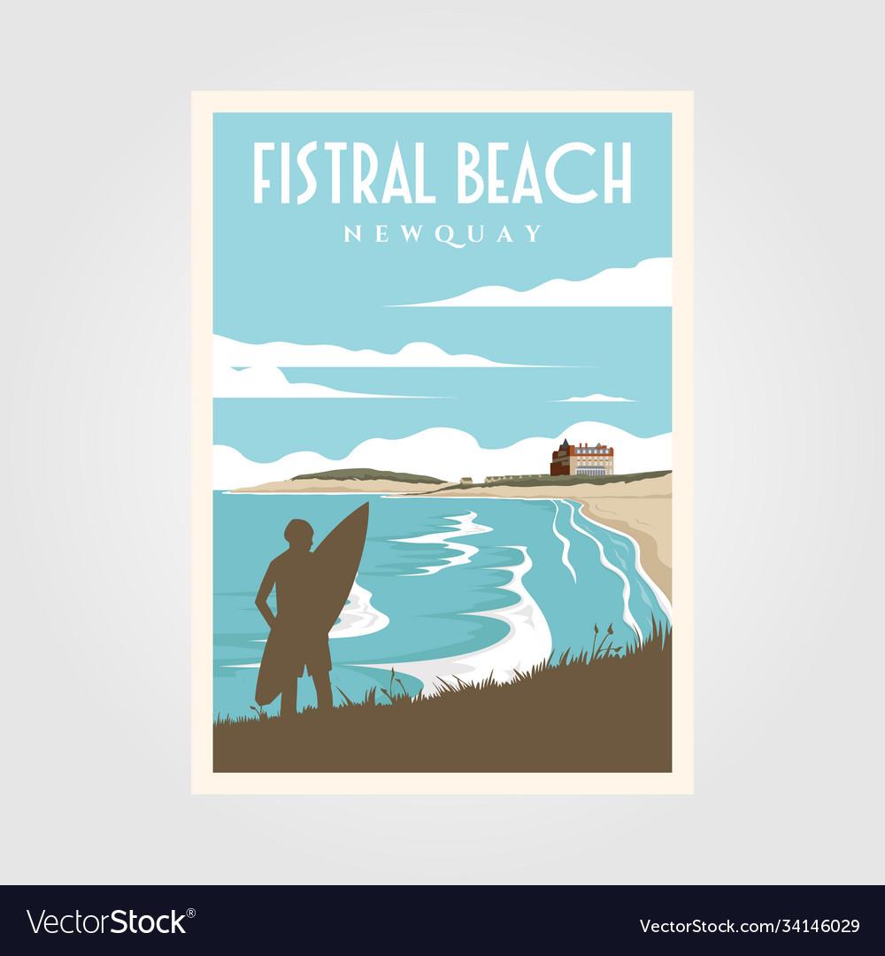 Fistral beach surf vintage poster design surf