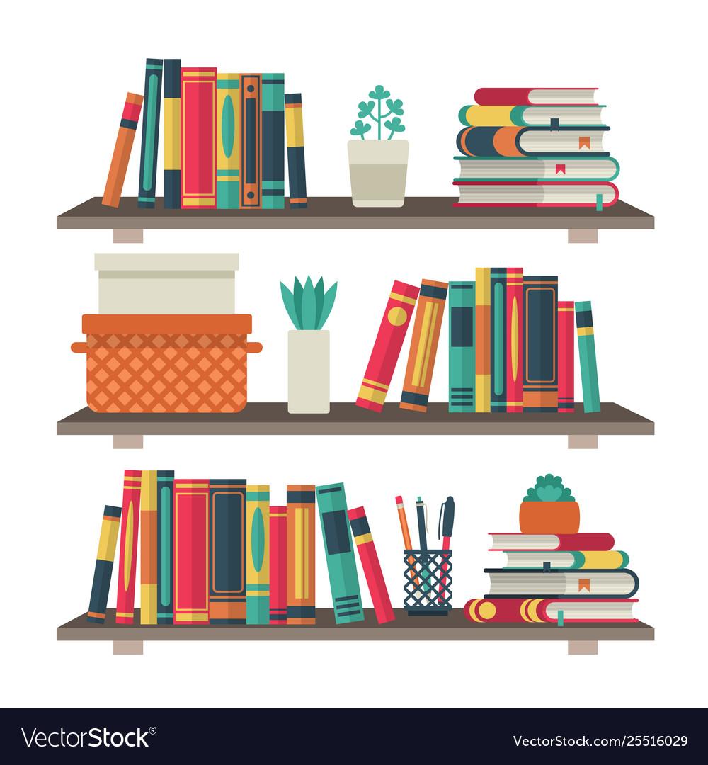 Flat bookshelves shelf book in room library