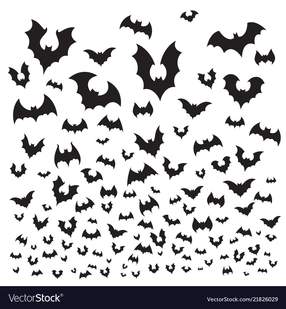 flying halloween bat cave bats flock silhouette vector image