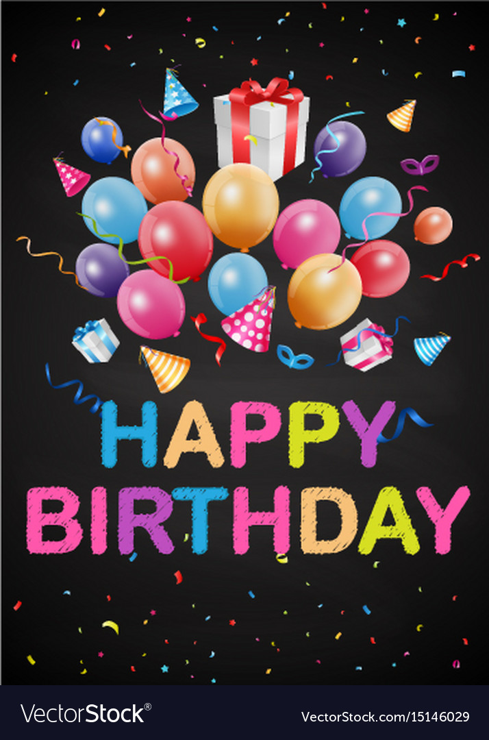 Happy birthday greetings on chalkboard Royalty Free Vector
