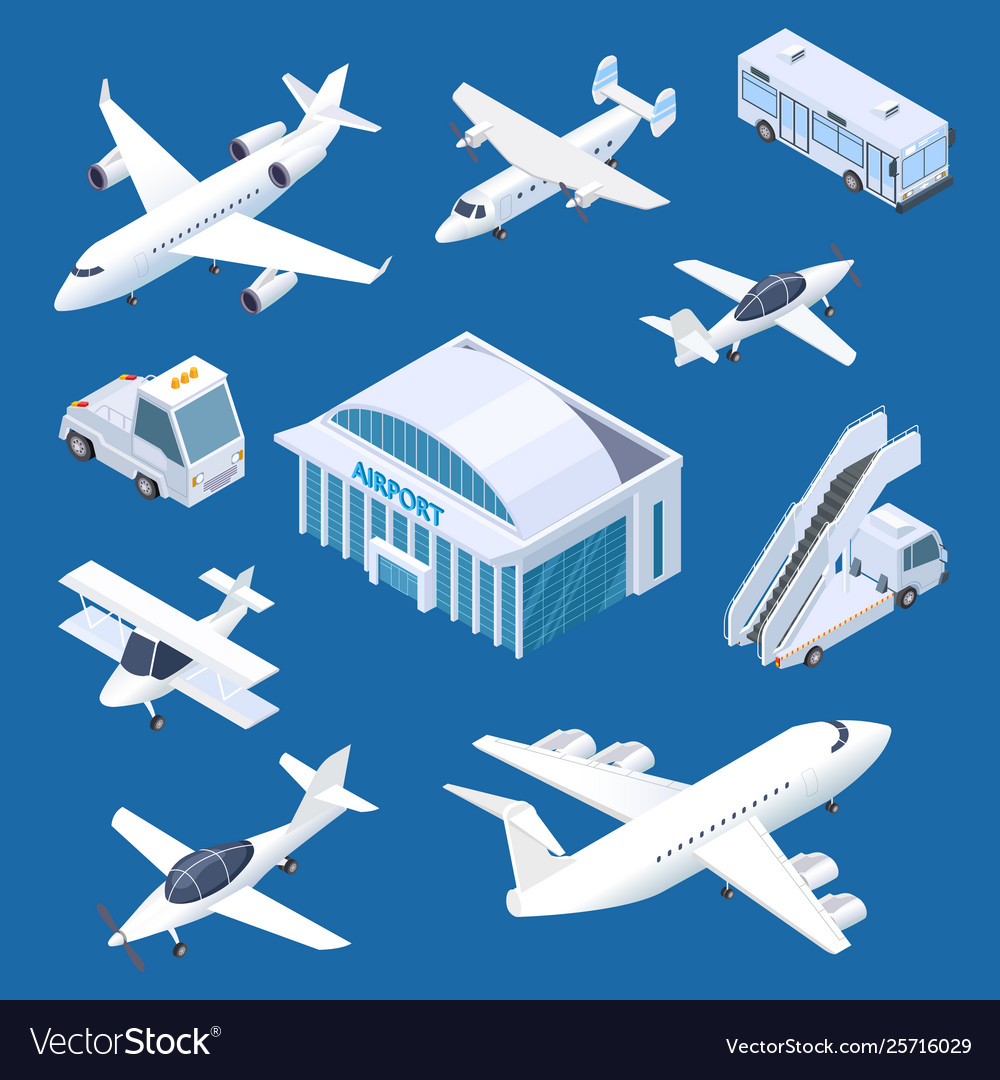 Isometric airport building airplaines and
