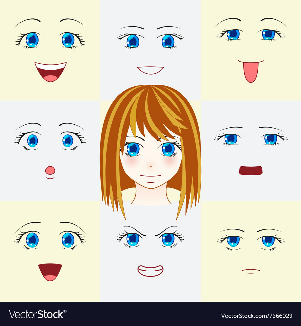 Set of faces in manga style vector image