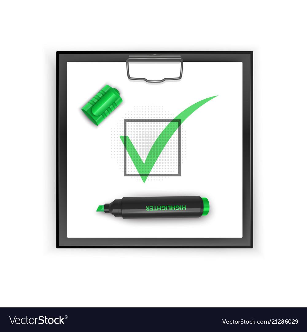 Square black clipboard with green check mark icon