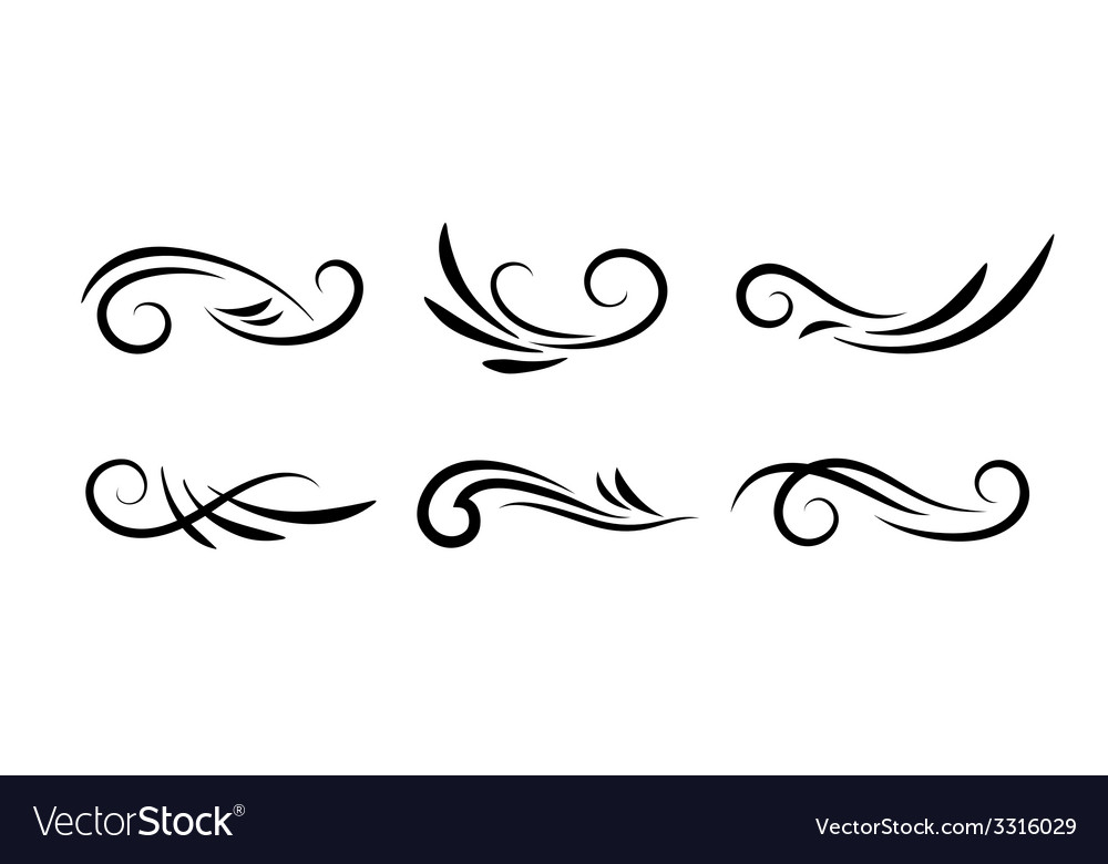swirl decoration elements royalty free vector image rh vectorstock com vector swirls and flourishes vector swirls background png