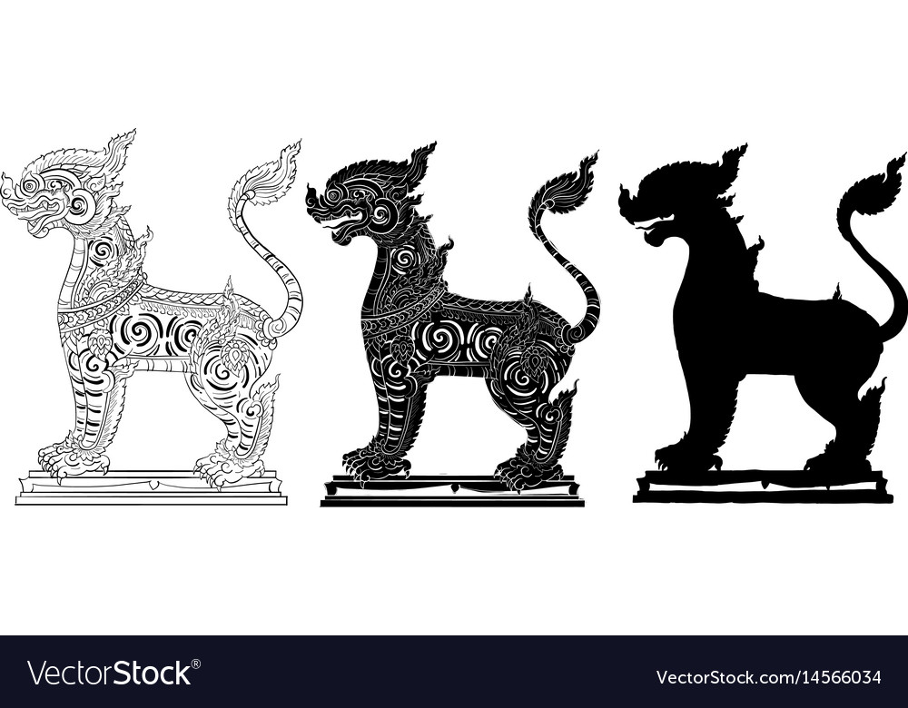 Animal singh thai traditional painting vector image